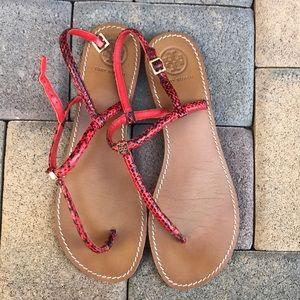 Women's Tan and orange Tory Burch sandals